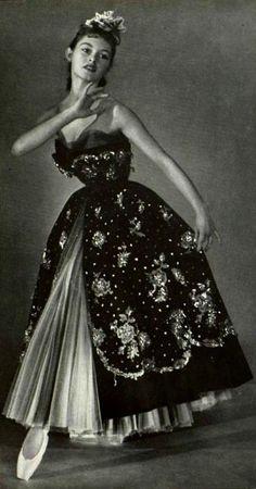 Brigitte Bardot modelling evening wear for Christian Dior, 1950.