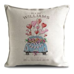One of my latest creations! Hand drawn and digitally coloured image. Using our sublimation printing process, these cushion covers are colourful and vibrant.  Personalised with your chosen name and date. The perfect gift for the bride and groom. 😊