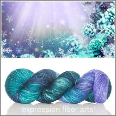 Limited edition Holiday Magic Pearlescent Worsted yarn by Expression Fiber Arts