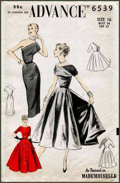 1950s 1960s Advance 6539 vintage one shoulder cocktail wiggle dress sewing pattern Mad Men evening formal bridal bust 34 b34 repro