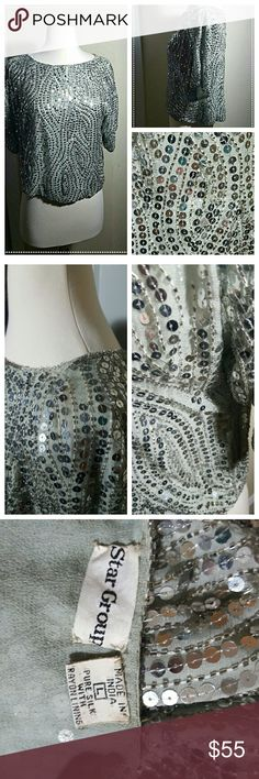 *** Must Go*** Vintage Sequin Party Blouse Beautiful Silk Sequined Blouse!  Handmade   Great for New Years!!!  Pure Silk with Raylon lining  Size L (But can fit a medium)  Some beading missing. Why the reflected price.  Come and party with this disco blouse!!!   Comes from a smoke-free home!!! Vintage Tops Blouses