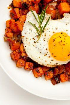 Sweet Potato-Pancetta Hash with Fried Eggs (gluten free)