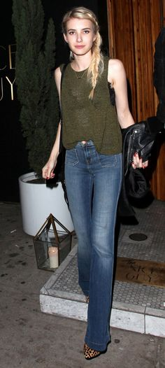 Emma Roberts in her J BRAND 802 Demi Patched Pocket Flare in Ashbury.