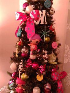 Our Lalaloopsy Christmas Slim Tree Christmas Tree Themes, Christmas Wreaths, Xmas, Holiday Decor, Slim Tree, Lalaloopsy, Ornament Wreath, Fall Decorating, Home Decor
