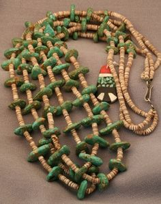 Three Strand Turquoise Tab Necklace, Jewelry by   Santo Domingo