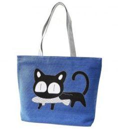 2018 Special Cartoon Cat Fish Canvas Handbag Preppy School Bag for Gir – ivroe Canvas Handbags, Canvas Tote Bags, Women's Handbags, Preppy School Bag, Cat Bag, School Bags For Girls, Canvas Shoulder Bag, Casual Bags, Blue Bags