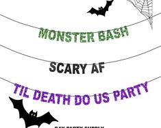 Halloween Banner Scary AF Banner, Monster Bash Banner, Til Death Do Us Party Banner, Naughty Halloween Party, Halloween Party Decor Halloween Balloons, Halloween Banner, Halloween Decorations For Kids, Halloween Party Decor, Outdoor Halloween, Adult Halloween, Bachelor Wedding, Bachelorette Party Decorations, Birthday Parties