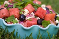 Watermelon and Blueberry Salad with Feta #memorialday #recipe
