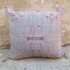 'In the Land of Grey and Pink'  Moroccan Sabra Silk Pillow -see also moroccan rugs