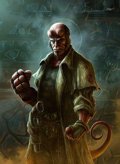 Making Of 'Hellboy' by Kerem Beyit Comic Book Characters, Comic Character, Comic Books, Epic Characters, Character Design, Hellboy Marvel, Hellboy Comics, Hellboy 1, Hellboy 2004