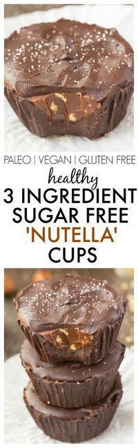Healthy 3 Ingredient 'Nutella' Cups made with NO sugar, NO dairy and ridiculously easy AND delicious! {vegan, gluten free, paleo recipe}- http://thebigmansworld.com
