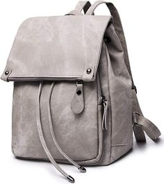 Amazon.com: Stylish PU Leather Backpack For Women Lightweight Cute Mini Backpack For Women Fashion Design Drawstring School Waterproof Rusksack Grey: Shoes