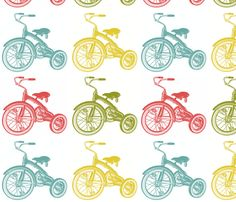 vintage tricycles fabric by lbdavidson on Spoonflower - custom fabric