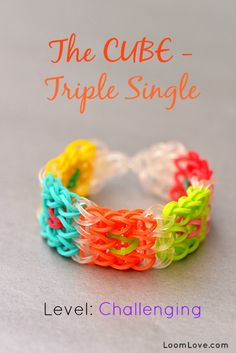 How to Make the Cube Rainbow Loom Bracelet. Posted by Loom Love.com (TWO LOOM DESIGN)