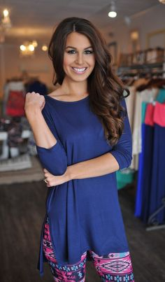 Dottie Couture Boutique - Cropped Sleeve Tunic- Navy, $28.00 (http://www.dottiecouture.com/cropped-sleeve-tunic-navy/)