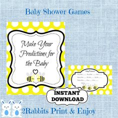 Bumble Bee Baby Shower Predictions By 2RabbitsPrintEnjoy