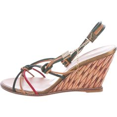 11814341b Tan leather Giuseppe Zanotti wedge sandals with evergreen and crimson satin  strap accents throughout