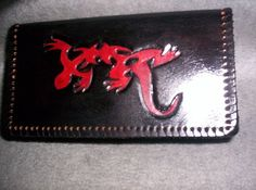 Tribal Gecko Tooled Leather Checkbook Cover or by wynnsleather, $15.00