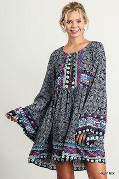 Boho Tunic Dress - Bell Sleeve - Super Free People Style #Umgee #Blouson More