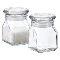 "2-1/8"" sq. x 3-1/4"" h; CS; Anchor Hocking spice jar; $2.50; 4oz; polypropylene seal; made in US"