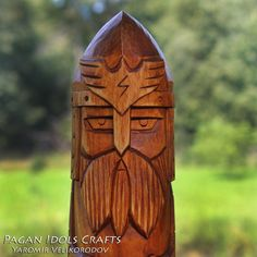 Perun Carved Wooden Statue Figure, Slavic God of War. Protector of the family and your home. Art Wood Carving Hand Made Decor. Simple Wood Carving, Carving Wood, Pagan Gods, Wooden Walking Sticks, Wooden Statues, Viking Art, Goddess Of Love, God Of War, Tree Stumps