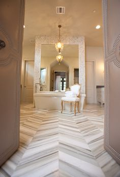 Bathroom Ideas - Google+ - Nice flooring Fantastic detail on the door to set the mood leading into the space...