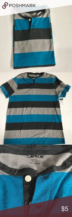 Rue 21 Carbon striped two button shirt Rue 21 Carbon striped two button shirt. Stripes are shades of blue and gray. Shirts Tees - Short Sleeve