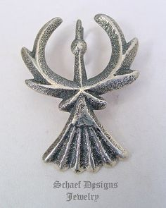 Gary Custer Tufa Cast solid sterling silver thunderbird pendant  | Schaef Designs | New Mexico