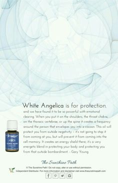 WhiteAngelica Essential Oil blend from YoungLiving for a cocoon like protection from negative energy. My Essential Oils, Essential Oil Diffuser Blends, Young Living Essential Oils, Yl Oils, Aromatherapy Oils, White Angelica, Eos Products, Young Living Oils, Witch Craft