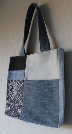 Leather and Denim Patch Front Pocket Tote with Vintage Victorian Inspired Charcoal and Light Gray Cotton Lining by AllintheJeans on Etsy