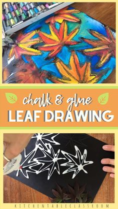 Learn how to draw a leaf and then make your drawing pop with this fun glue and chalk method! Learn how to draw a leaf then put those skills into action with this pastel chalk and glue leaf drawing done on black paper. Watch those colors pop! Fall Art Projects, School Art Projects, Children Art Projects, Art Project For Kids, Art History Projects For Kids, Thanksgiving Art Projects, Pop Art For Kids, Art Ideas For Teens, Art Projects For Adults