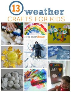 13 Weather Crafts For Kids. Teach about all the extreme weather that is going on with easy weather crafts. Now is a fantastic time to talk all about weather with your kids and make some fun weather themed crafts too. Preschool Weather, Weather Crafts, Preschool Science, Craft Activities For Kids, Toddler Activities, Preschool Activities, Craft Ideas, Weather Art, Weather Activities