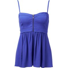 Forever New Bette front zip camisole ($32) ❤ liked on Polyvore featuring tops, shirts, tank tops, dresses, blusas, techno purple, stringer tank top, purple camisole, purple cami en cami tank
