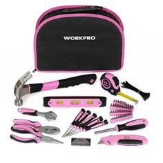 62.99$  Buy now - http://ali2xj.worldwells.pw/go.php?t=32656676113 - WORKPRO 103 Piece Pink Lady Tool Set General Tool Set Home Tool Kit  with Pink Zipper Bag Free Shipping