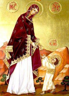 Mom Mary y el niño Dios.