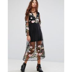 Rd & Koko Midi Festival Dress In Floral Print (77 CAD) ❤ liked on Polyvore featuring dresses, black, v neck maxi dress, sheer maxi dress, sheer mini dress, tall maxi dresses and floral mini dress