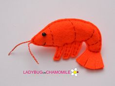 Cute miniature SHRIMP magnet made from colorful felt fabric. This stuffed felt Shrimp is originally designed as a great home decor or adorable gift for your loved ones, educational for kids, fun for all ages. The Shrimp can be made as a magnet, double sided toy or hanging