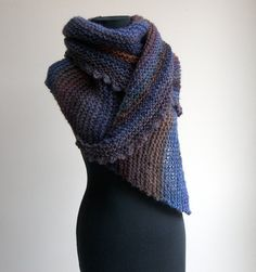 Hand Knit Asymmetrical Shoulder Shawl Scarf Cowl Wrap, Stylish Comfort Prayer Meditation, Blue Violet Brown Rust
