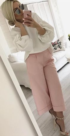 white and blush pink outfit blouse + pants