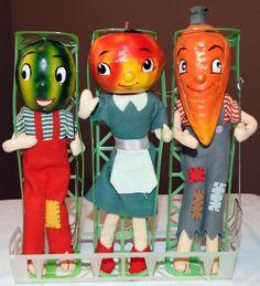 "3 Vtg 1950s Anthropomorphic Dolls Carrot Apple Watermelon Head Posable Japan 10"""