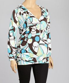 99b48ad5f50 Take a look at this Turqoise  amp  White Abstract Hooded Top - Plus by GLAM