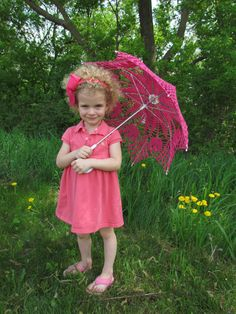 30 Pink Lace Crochet  UMBRELLA PARASOL, Valentines Day Wedding- Made to Order via Etsy