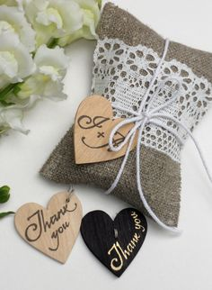 Burlap favor sachets with linen lace rustic wedding thank you bags set of 10. $20.00, via Etsy.