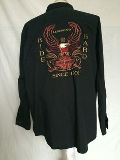 Harley-Davidson Button Up Shirt 2XL Black Large Embroidery Long Sleeves 2005 #HarleyDavidson #ButtonFront