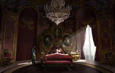 """"""" Visual Development for Cinderella by Adam Brockbank """" Fantasy Rooms, Fantasy Bedroom, Fantasy Castle, Fantasy Places, Fantasy Art Landscapes, Fantasy Landscape, Environment Concept Art, Environment Design, Animes Emo"""