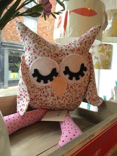 Handmade, floral owl cushion