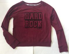 Hard Rock Cafe New York Deep Red Maroon Sweatshirt Top x Large Trendy Cozy | eBay