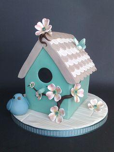 Shabby Chic, Bird House Cake (by SmallThingsIced)