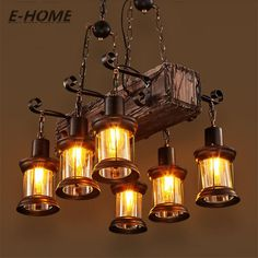 American Rural creative retro industrial wind restaurant bar PERSONALIZED COFFEE boat solid wood Chandelier