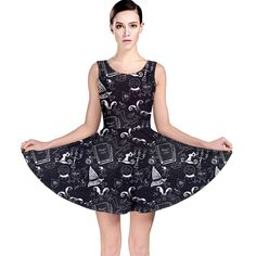 81aa6316cc CowCow Womens Black Chalkboard Halloween Pattern Skater Dress  Amazon  Fashion